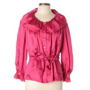 Ellen Tracy Raspberry Pink 100% Silk Ruffle Blouse